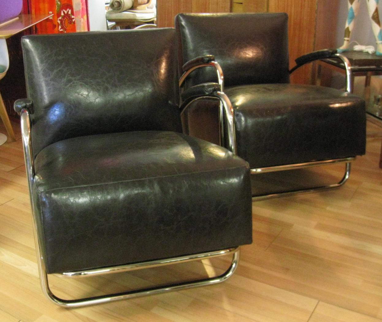 Mitchell Gold Deco Tubular Chrome U0026 Black Faux Leather Club Chairs   A Pair    Image