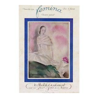 """Femina, November 1929"" Original Vintage French Magazine Cover For Sale"