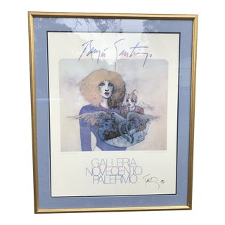 Vintage 1981 Roman Santiago Lithograph Print Poster, Hand Signed in 1997 For Sale