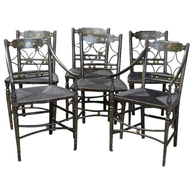 Superb Set Of 6 Early 19Th Century American Fancy Dining Chairs Ibusinesslaw Wood Chair Design Ideas Ibusinesslaworg