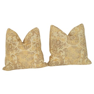 Vintage Fortuny Carnival Pattern Pillows - A Pair For Sale
