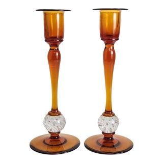 Amber Art Glass Candlesticks - A Pair