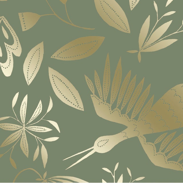 Julia Kipling Otomi Grand Wallpaper, Sample, in English Mint, Gold Flash For Sale