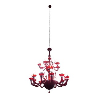 Contemporary Red Diavolo Red Murano Glass Chandelier