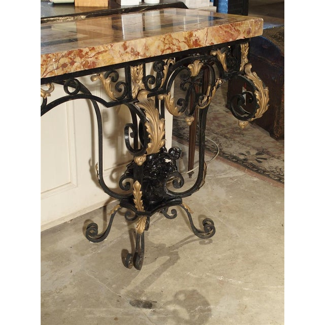 1920's French Forged Iron and Marble Console Table For Sale - Image 9 of 13