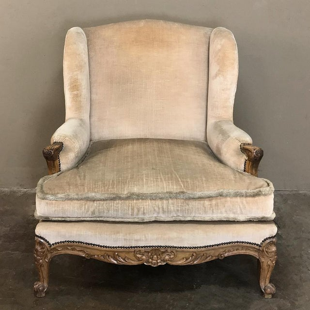 French Antique French Walnut Louis XV Wingback Armchair For Sale - Image 3 of 13