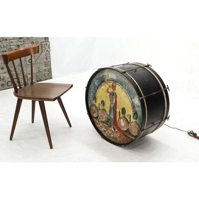 Mid 20th Century Large Drum Light Fixture Painted and Converted Floor Lamp For Sale - Image 5 of 12