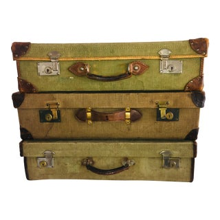 1940s Vintage English Military Canvas & Leather Suitcases-Set of 3 For Sale