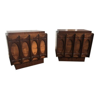 1970s Brutalist Broyhill Brasilia Style Night Stands - a Pair For Sale