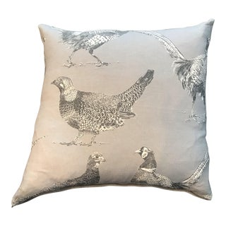 British Cotton/Linen Game Bird Pillow With Contrasting Back For Sale