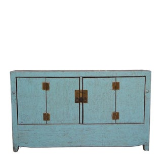 1950s Chinese Dongbei Baby Blue Wedding Cabinet For Sale