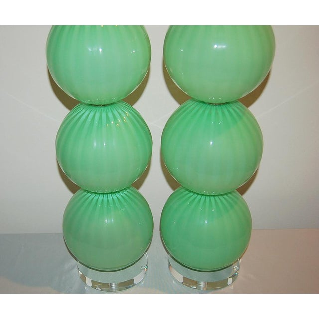Glass Joe Cariati Hand Blown Glass Ball Table Lamps Green For Sale - Image 7 of 10