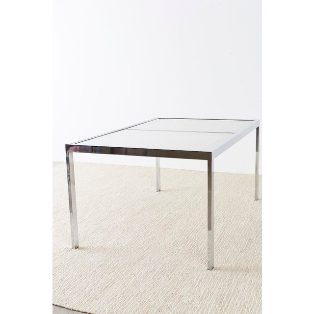 Milo Baughman Chrome Cane Wicker Dining Table For Sale - Image 10 of 13