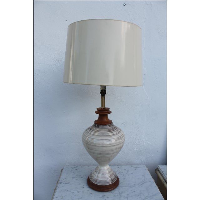 Gray Vintage Danish Ceramic and Teak Table Lamp For Sale - Image 8 of 8