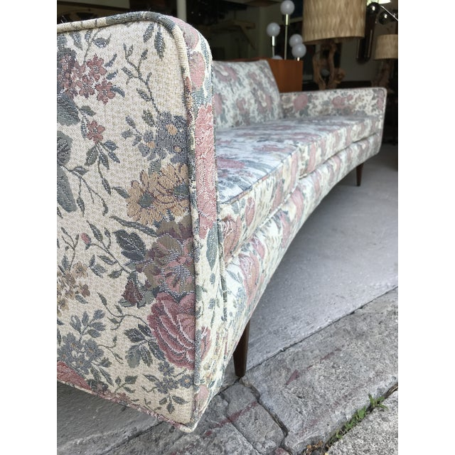"Walnut 97"" Mint Condition Curved Front Sofa Mid Century McCobb Style For Sale - Image 7 of 12"