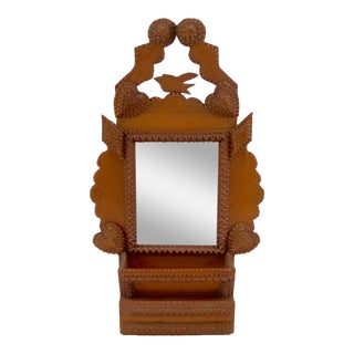 Antique Tramp Art Frame With Drawer For Sale