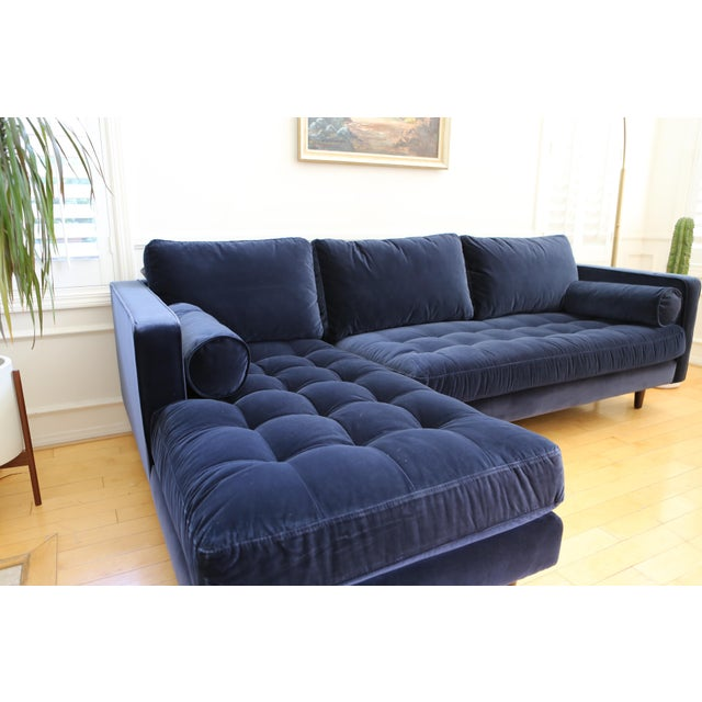 Mid Century Modern Navy Blue Velvet Sectional Sofa Chairish