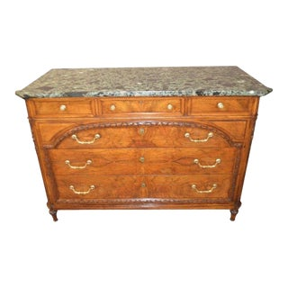 1920s French Marble Top Carved Chest For Sale