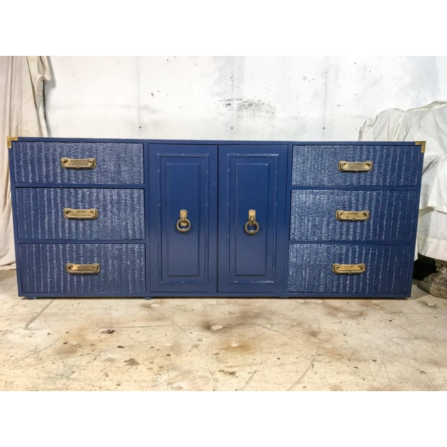 1960's Campaign Style Navy Lacquered Credenza For Sale - Image 4 of 6