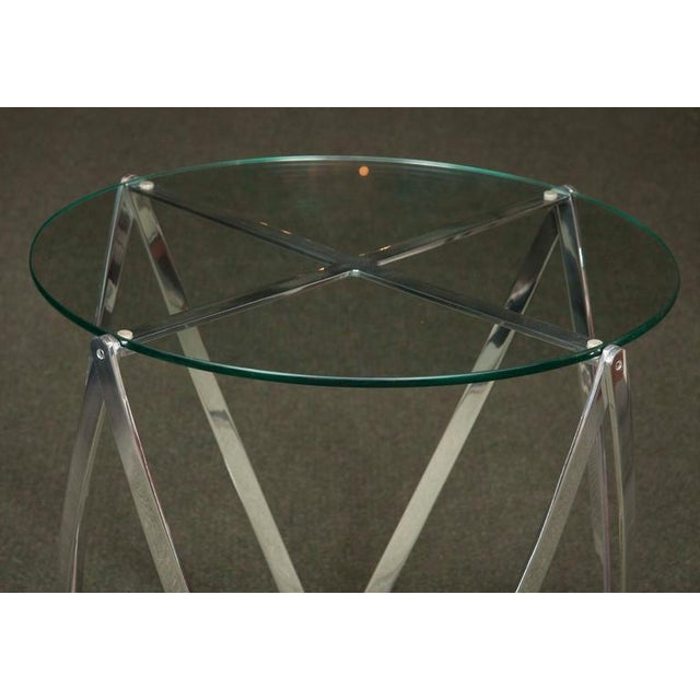 A John Vesey Aluminum & Glass-Top Round Side Table For Sale - Image 4 of 6