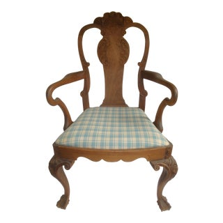 Antique Carved Arm Chair With Wheat and Shell Crest For Sale