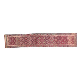 1950's Vintage Turkish Hand-Knotted Long Runner Rug - 2′10″ × 14′11″ For Sale