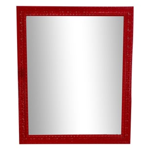 Vintage Late 20th Century Tulip Red Wall Mirror For Sale