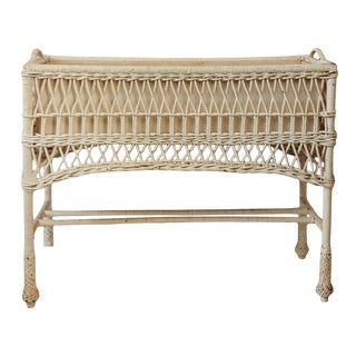 Antique Late 19th Century Bar Harbor Wicker Planter Plant Stand With Liner For Sale