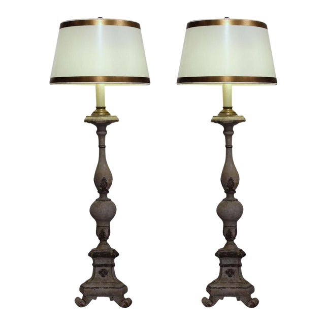 18th Century Italian Carved Painted Altar Stick Floor Lamps - A Pair - Image 1 of 9