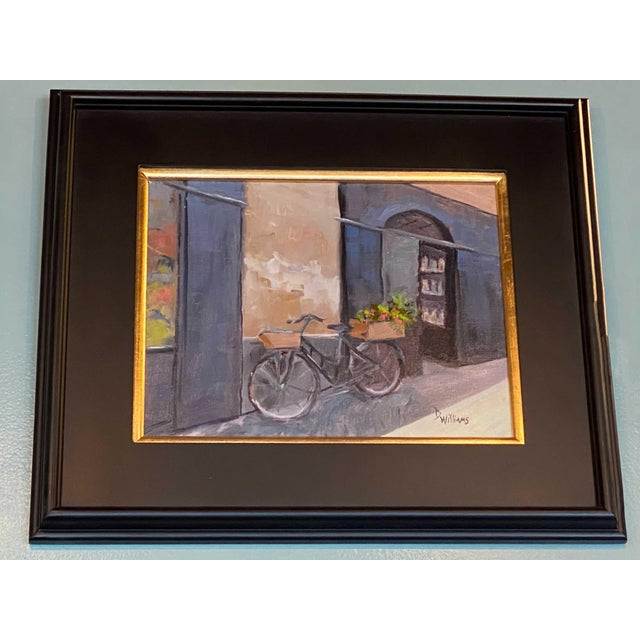 """Bicycle painting signed D. Williams. Made in the 19th century. 20"""" Wide x 18"""" High"""