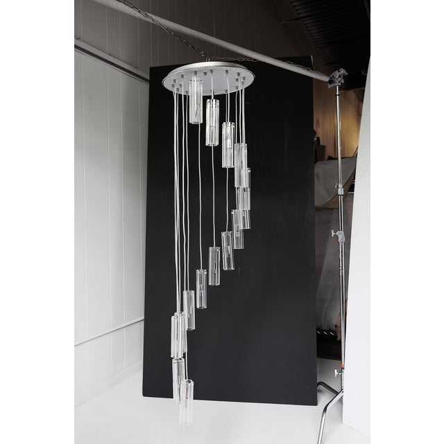 """Cascading Glass Pendant Chandelier, 60"""" For Sale - Image 4 of 13"""
