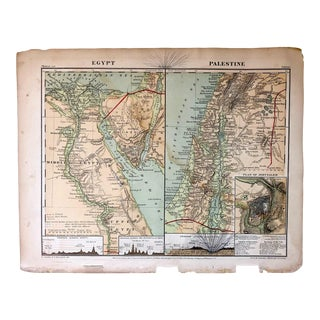Late 19th Century Antique Map of Egypt and Palestine For Sale