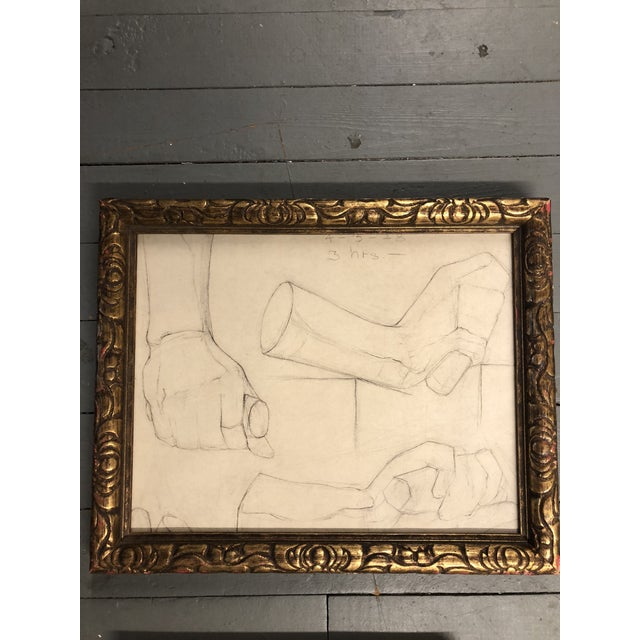 Gallery Wall Collection 3 Original Male Charcoal Studies 1930's For Sale - Image 4 of 6