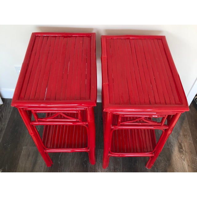 Serena and Lily Red Lacquered Side Tables - a Pair For Sale In San Francisco - Image 6 of 9