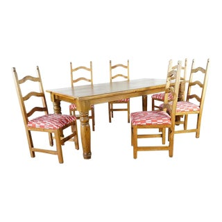Shabby Chic Wooden 6-Seater Dining Set - 7 Pieces