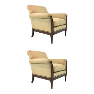 Transitional Kravet Christina Club Chairs Pair For Sale