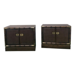 1960s Campaign American of Martinsville Faux Bamboo Wood Bedside Tables - a Pair