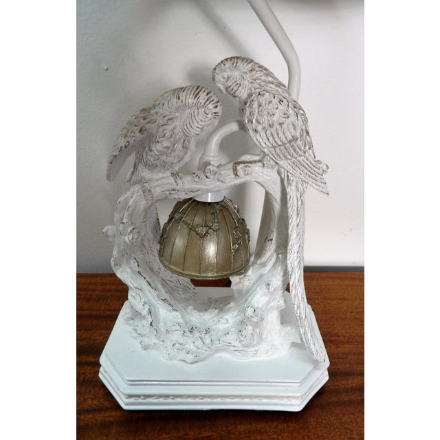 Metal Parakeet Lamp in White Lacquer With Multiple Setting Lights With Silver Shade For Sale - Image 7 of 11