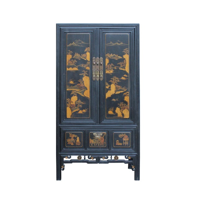 Chinese Fujian Golden Mountian Water Graphic Tall Armoire Cabinet For Sale - Image 10 of 10