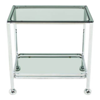 Chrome Tinted Smoked Glass Rolling Tea Cart With Concealed Wheels For Sale