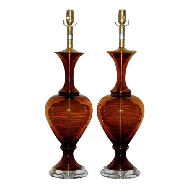 Marbro Vintage Murano Glass Table Lamps in Cognac For Sale