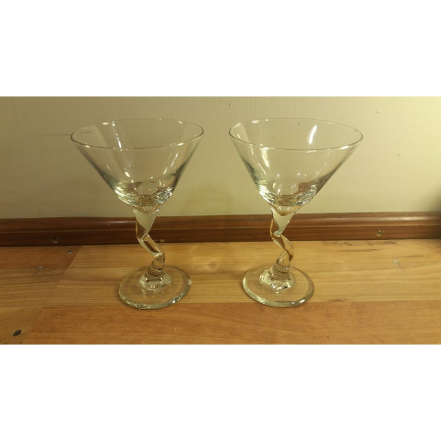 Pair of wine glasses with zig zag stem. Clear glass.
