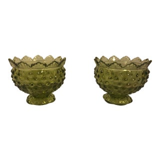 Ruffle Top Green Fenton Candle Holders - a Pair For Sale
