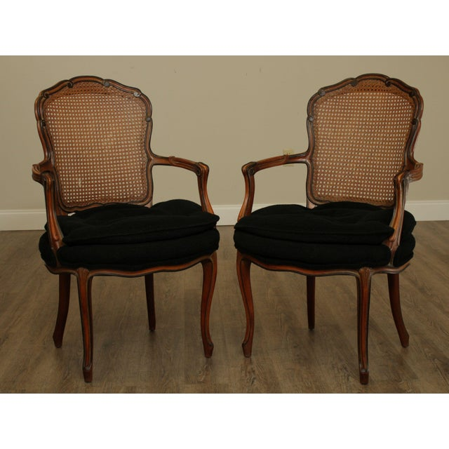 High Quality Custom Quality Vintage Pair of Cane Back Solid Wood Frame Armchairs with Tufted Upholstered Seats Store...