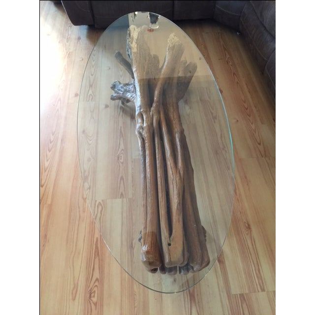 Driftwood Base Coffee Table With Glass Top - Image 5 of 9