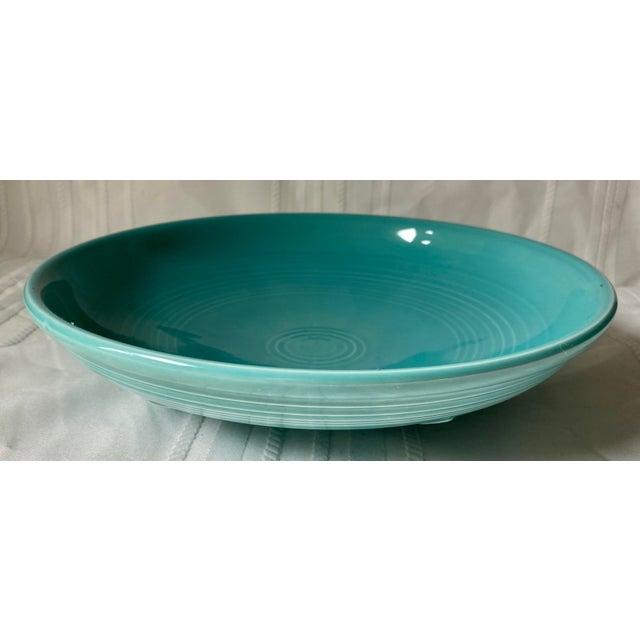 1990s 1990s Vintage Fiesta Ware Blue Teal Serving Bowl For Sale - Image 5 of 7