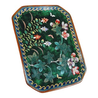 Vintage Cloisonne Tray Enameled Meiji Green Chinese Foiled Bronzed Copper For Sale