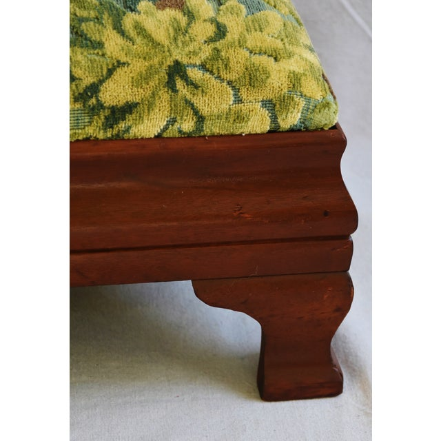 Early 1900s Foot Stool w/ Scalamandre Marly Velvet Fabric - Image 7 of 11