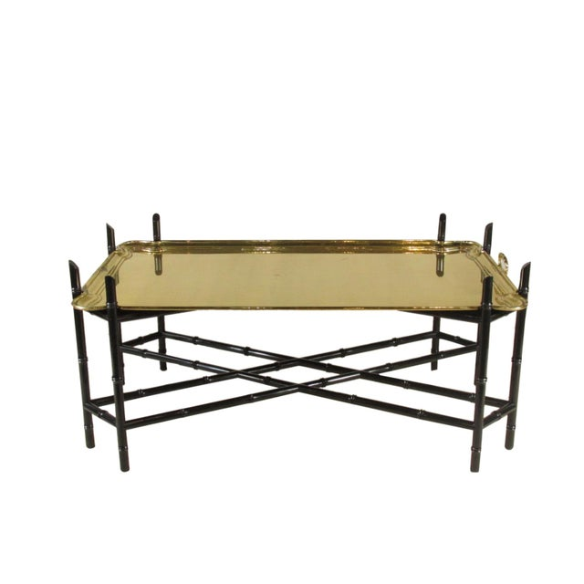 1960s Regency Style Brass Tea Table For Sale - Image 11 of 11