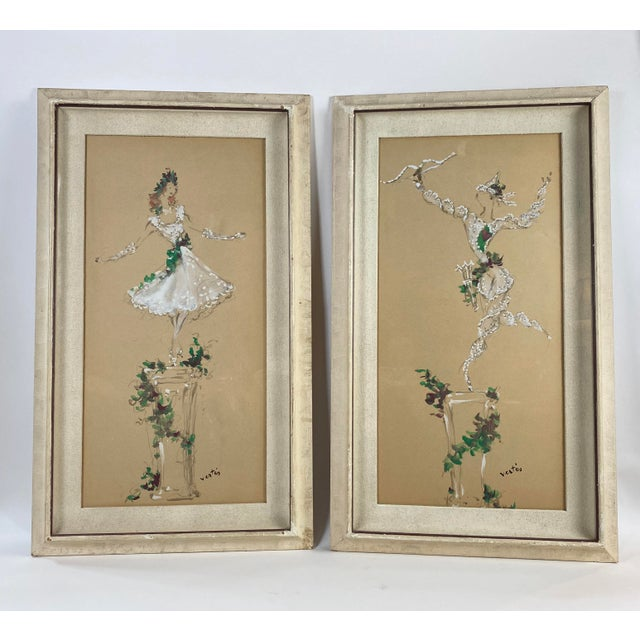 Marcel Vertes Paintings - a Pair of Whimsical Dancers For Sale - Image 13 of 13